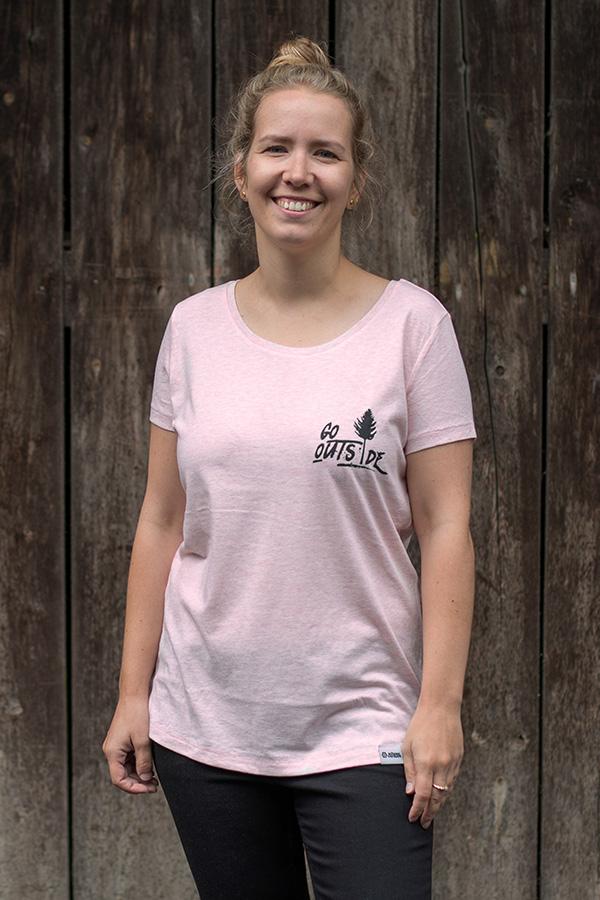 "Schneeverliebt Shirt ""Go Outside"" Heather Pink"