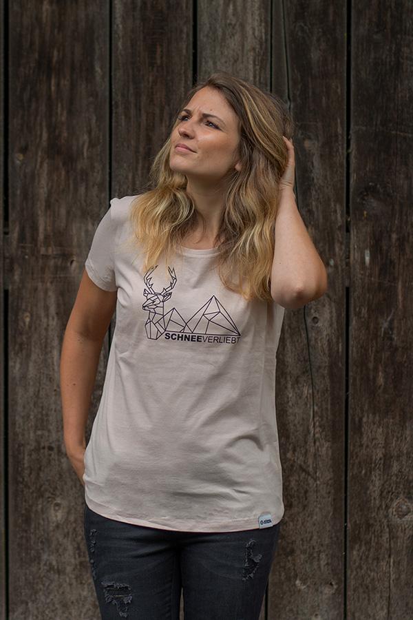"""Schneeverliebt Shirt """"Hirschberg"""" Nude"""
