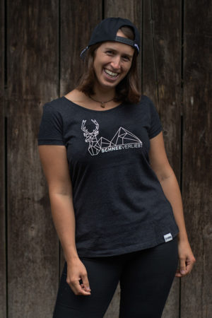 """Schneeverliebt Shirt """"Hirschberg"""" Heather Black"""